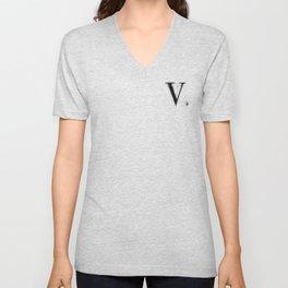 V. - Distressed Initial Unisex V-Neck