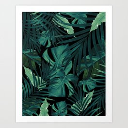 Tropical Jungle Night Leaves Pattern #1 #tropical #decor #art #society6 Art Print