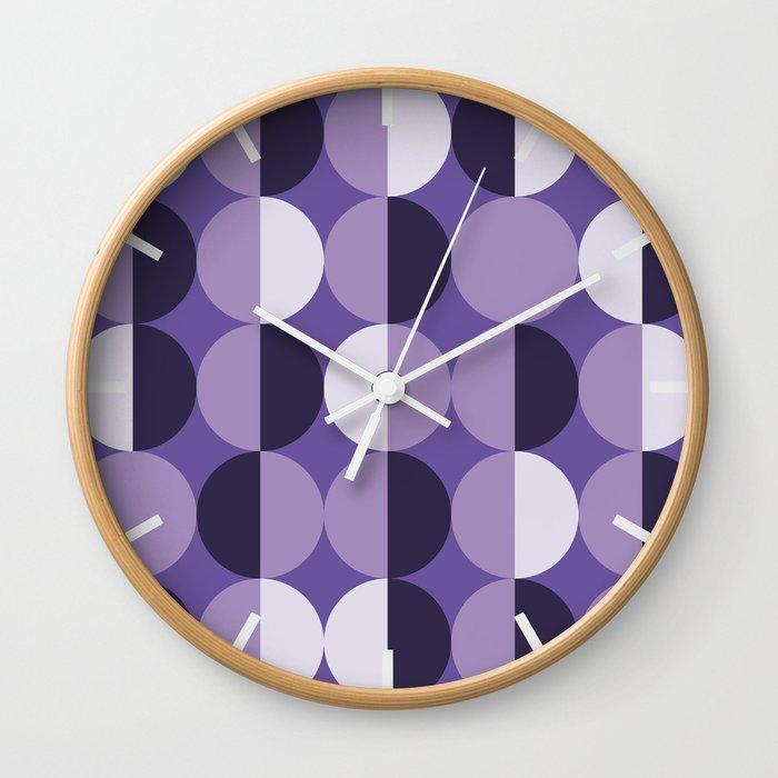 Retro circles grid purple Wall Clock