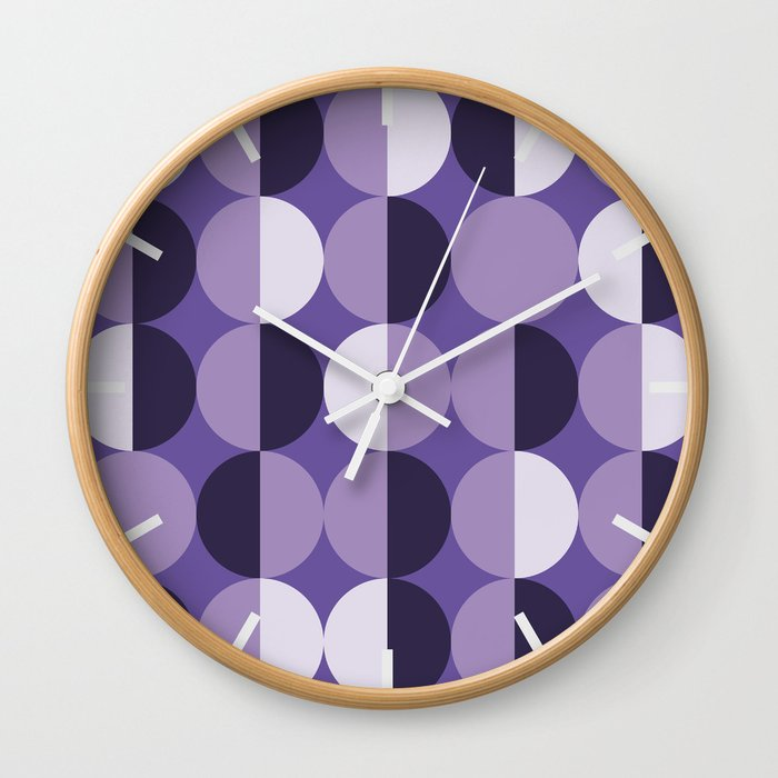 Retro circles grid purple Wall Clock