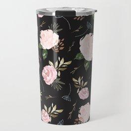 Floral Blossom - Black Backgroud Travel Mug