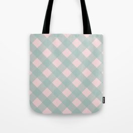 Pink & Mint Checkered Pattern-Mix and Match with Simplicity of Life  on #Society6 Tote Bag