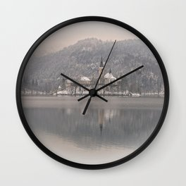 Wintry Bled Island Wall Clock