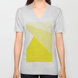 Simple Geometric Triangle Pattern - White on Yellow - Mix & Match with Simplicity of life Unisex V-Neck