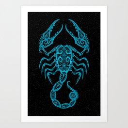 Blue Scorpio Zodiac Sign in the Stars Art Print
