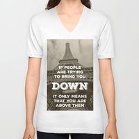 eiffel tower V-neck T-shirts featuring Eiffel tower by Solar Designs