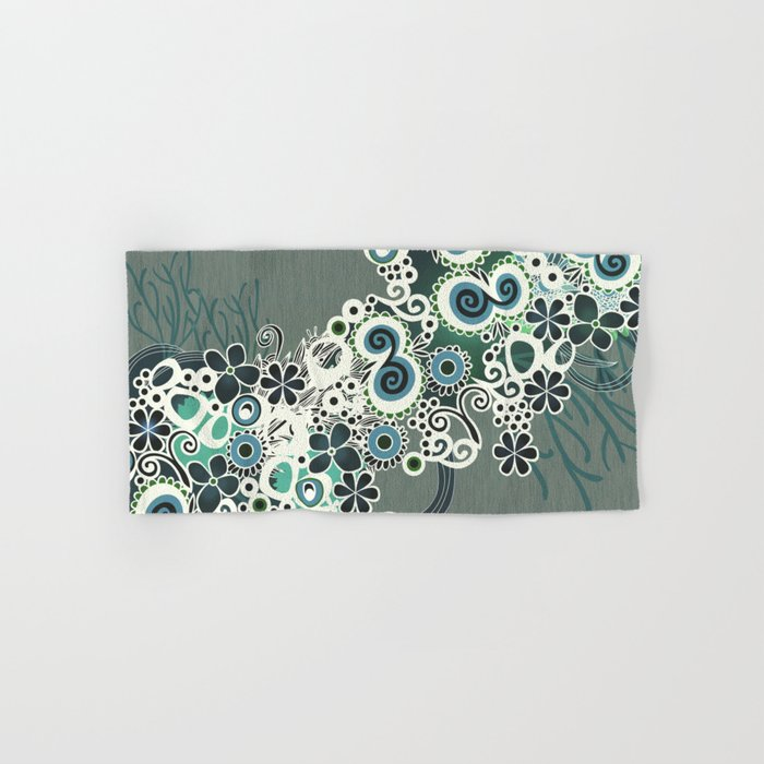 Diagonal flower – blue and green fiber Hand & Bath Towel