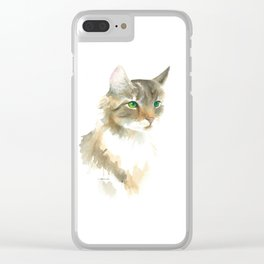 Supremely innocent, tragically misunderstood - brown tabby cat 1 Clear iPhone Case