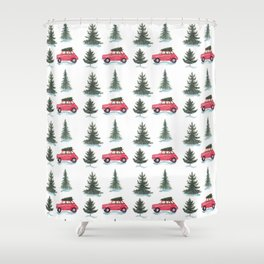 Red car and christmas tree in forest Shower Curtain