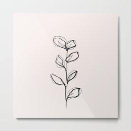 Plant one line drawing illustration - Nora I Metal Print