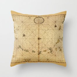 A chart of the Caribe Ilands (1680) Throw Pillow