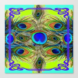 BLUE PEACOCK FEATHER ART NOVEAU DESIGN Canvas Print