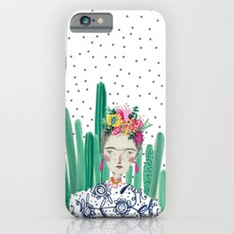 Frida Kahlo. Art, print, illustration, flowers, floral, character, design, famous, people, iPhone Case