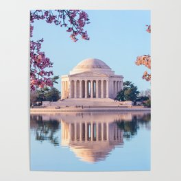 Cherry Blossoms at Jefferson Memorial in Washington DC Poster