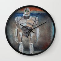 rothko Wall Clocks featuring Iron Giant and Rothko by Renee Bolinger