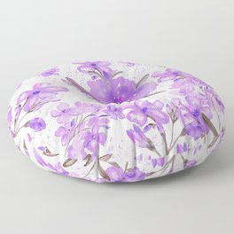 Watercolor lavender lilac brown modern floral Floor Pillow