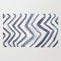 water colour Area & Throw Rugs featuring Black Water Colour Chevrons by Stephen John Bryde