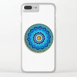 Blue Rose Mandala Clear iPhone Case