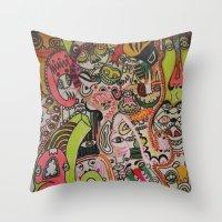 miles davis Throw Pillows featuring miles davies by Dan Feit