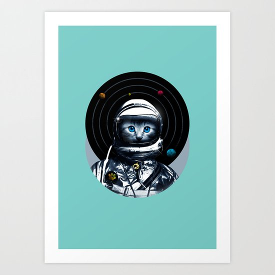 Space Kitten (white ver.) Art Print