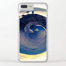 sunset with ocean view Clear iPhone Case