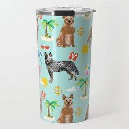 Australian Cattle Dog beach tropical pet friendly dog breed dog pattern art Travel Mug