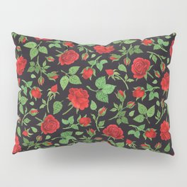 Roses and rose buds in black Pillow Sham