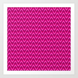 Mod Red Pink Bargello Stripe Art Print