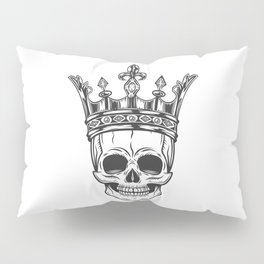 Vintage prince skull in crown monochrome isolated vector illustration Pillow Sham