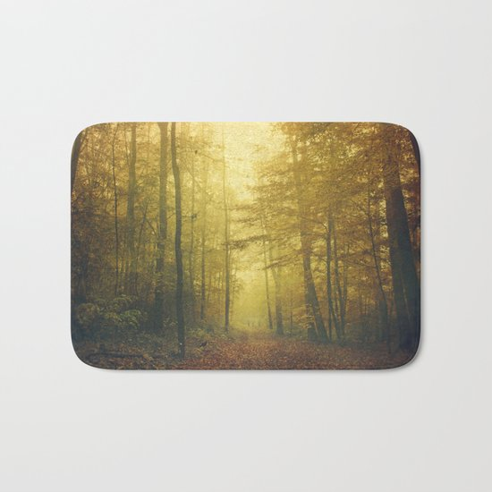 fall morning forest Bath Mat
