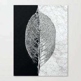 Natural Outlines - Leaf Black & White Marble #284 Canvas Print