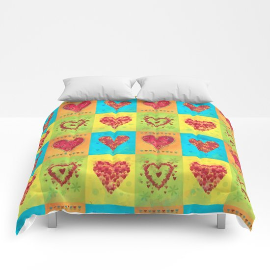 Colorful hearts pattern Comforters