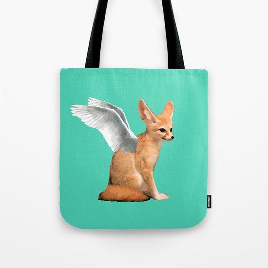 Winged Fennec Fox Tote Bag