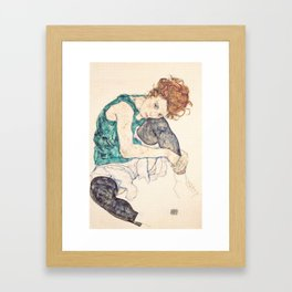 Sitting Woman With Legs Drawn Up Framed Art Print