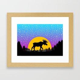 Moose Moon Light Pink and Light Blue Framed Art Print