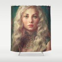 meme Shower Curtains featuring MEME 017 Danaerys by mushroomtale