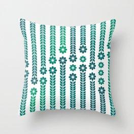 Forrest Retro Flowers Throw Pillow