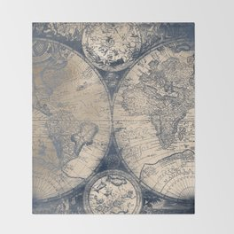 Antique World Map White Gold Navy Blue by Nature Magick Throw Blanket
