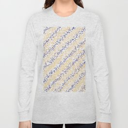 Modern yellow navy blue polka dots stripes pattern Long Sleeve T-shirt
