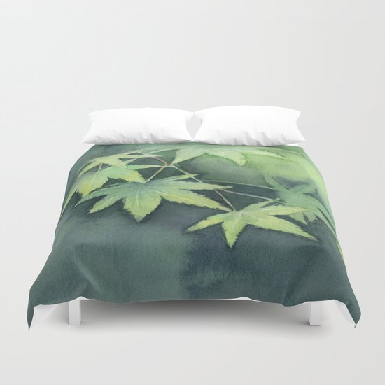 Japanese Maple Watercolor Green Leaves Tree Branch Nature Duvet Cover