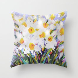 White Daffodil Meadow Throw Pillow