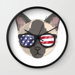 Patriotic Tonkinese Cat Kitty Merica American Flag Wall Clock