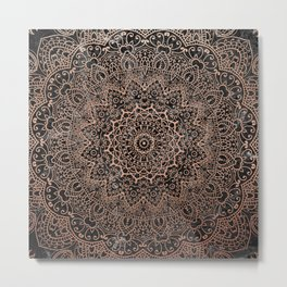 Mandala - rose gold and black marble 3 Metal Print
