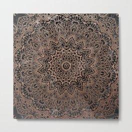 Mandala - rose gold and black marble 3 Metal Print