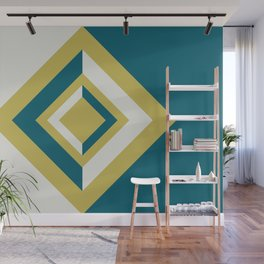 Tropical Dark Teal Inspired by Sherwin Williams 2020 Trending Color Oceanside SW6496 Dark Yellow and Off White Geometric Shapes Diamond Minimal Illustration 2 Wall Mural