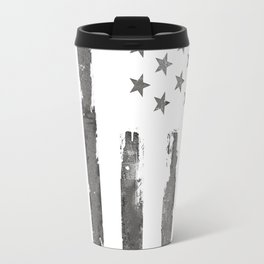 American flag Patriotic Gray grunge Travel Mug