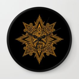Ancient Yellow and Black Aztec Sun Mask Wall Clock