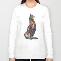 tatoo Long Sleeve T-shirts featuring Tatoo cat by Annie Liu