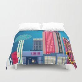 Dallas, Texas - Skyline Illustration by Loose Petals Duvet Cover