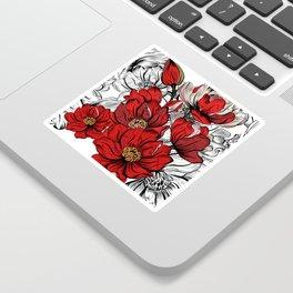 RED PEONIES PATTERN Sticker